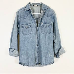 URBAN OUTFITTERS Distressed Denim Shirt Jacket XS